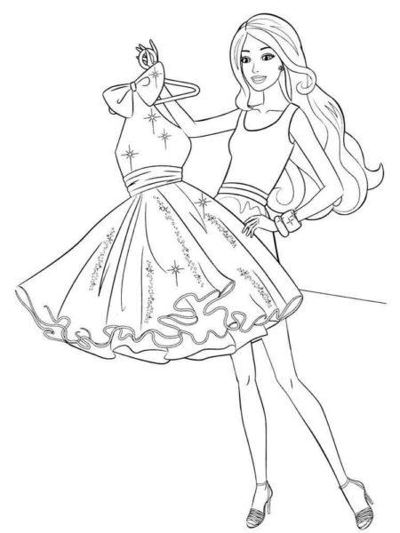 Раскраска Барби и платье