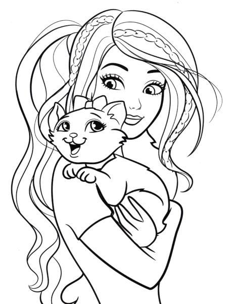 Раскраска Барби и кот
