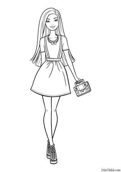 Раскраска Барби с сумкой