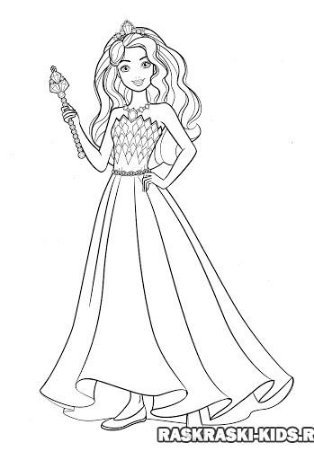 Раскраска Барби принцесса