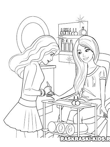 Раскраска Барби маникюр